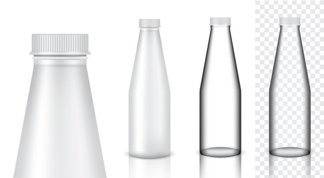 Mock up Realistic Glass Transparent Packaging Product For Milk or Water Juice Bottle isolated Background.