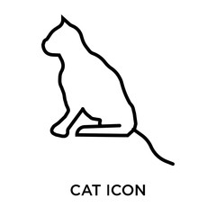 Cat icon vector sign and symbol isolated on white background, Cat logo concept