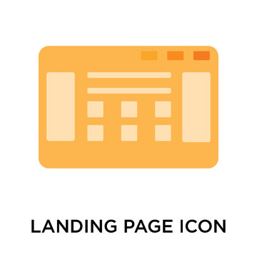 Landing page icon vector sign and symbol isolated on white background, Landing page logo concept