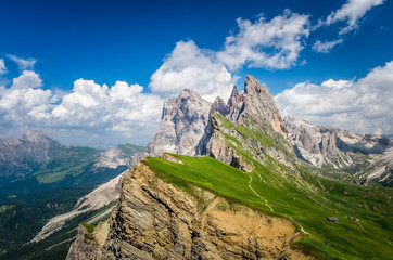 Gruppo delle Odle, view from Seceda. Puez Odle massif in Dolomites mountains, Italy, South Tyrol Alps, Alto Adige, Val Gardena, Geislergruppe Wall mural