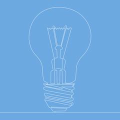 Continuous one line light bulb symbol idea