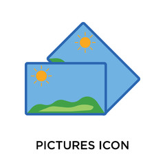 Pictures icon vector sign and symbol isolated on white background, Pictures logo concept
