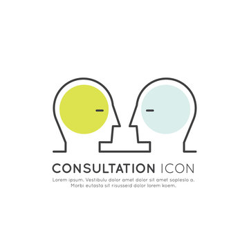 Vector Icon Style Illustration of Online Consultation Platform Concept with Two Human Profiles Looking at Each Other, Isolated Web Element, Chatbot Virtual Assistance and Online Support