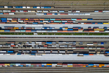 Container Terminal with Cargo Trains seen from above