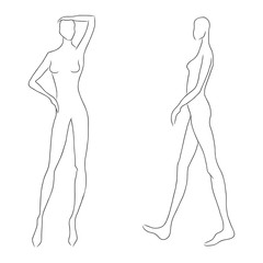 Women's figure sketch. Different poses. Template for drawing for designers of clothes and constructors. Vector outline girl model template for fashion sketching. Fashion illustration.