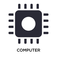 Computer microprocessor icon vector sign and symbol isolated on white background, Computer microprocessor logo concept
