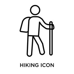 Hiking icon vector sign and symbol isolated on white background, Hiking logo concept