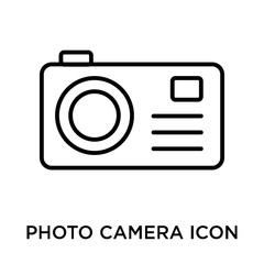 Photo camera icon vector sign and symbol isolated on white background, Photo camera logo concept