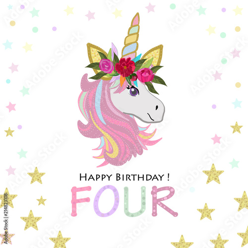 Fourth Birthday Greeting Four Text Magical Unicorn Invitation Party Card