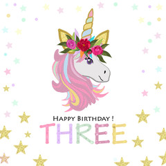 Third birthday greeting. Three text. Magical Unicorn Birthday invitation. Party invitation greeting card