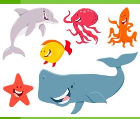 sea life animals cartoon characters set