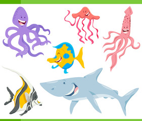 fish and sea life animals characters set