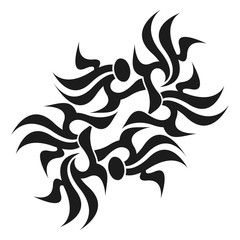 Ornamental abstract ink shape. Simple tattoo. Tribal sign.