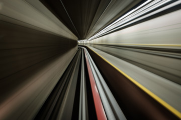 Long exposure of a ride through a subway tunnel