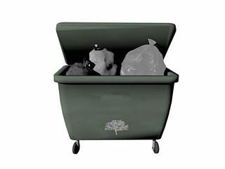 Grüne Mülltonne und Müllsäcke