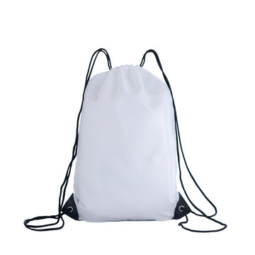 White drawstring pack template, bag for sport shoes isolated on white