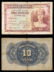 Billete de 10 pesetas. Año 1935. Aislado sobre fondo negro.