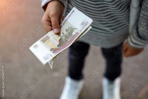 Male Hand Opening A White Envelope Full Of Russian Currency Russian