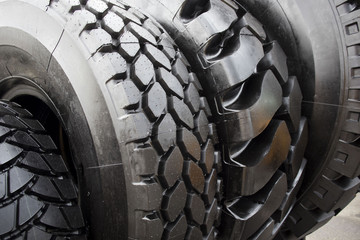 New, large tires of a bus garage, truck tires