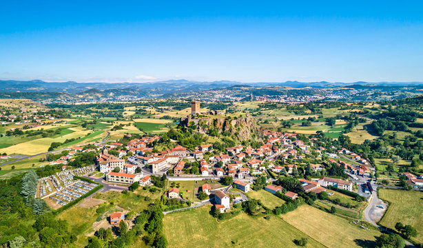 View of Polignac village with its fortress. Auvergne, France