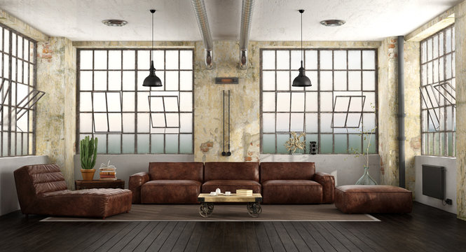 Living room in a loft