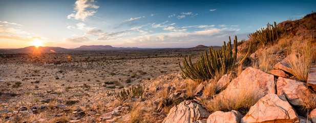 Panoramic landscape photo views over the kalahari region in South Africa