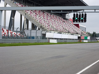 racing track horizontal with an empty place for advertising
