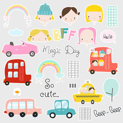 Set of cute kids stickers with girls, cars and other elements. Vector hand drawn illustration.