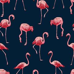 Tuinposter Flamingo Seamless flamingos pattern, vector