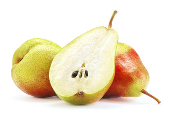 Wall Mural - ripe pear fruits isolated on white background