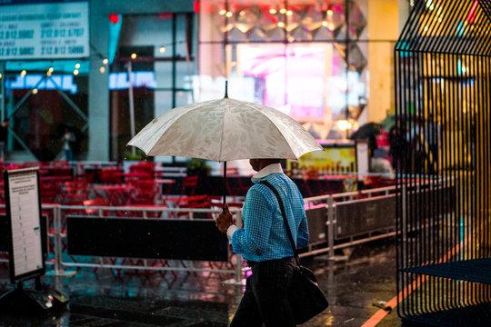Man with Umbrella Times Square