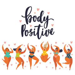 Body positive. Happy girls are dancing. Attractive overweight woman. Vector illustration