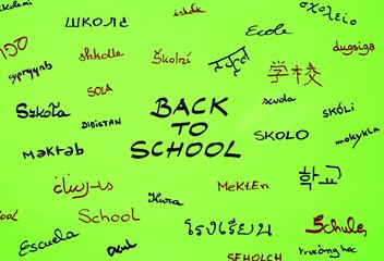 Back to school green background with school inscription in international languages.