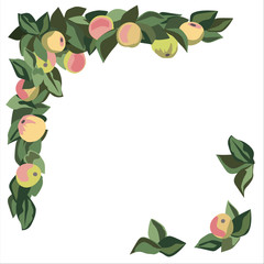 Apple and leaf border corner motif