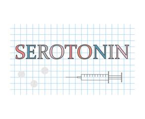 serotonin word on checkered paper sheet- vector illustration