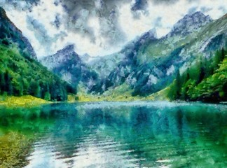 Hand drawing watercolor art on canvas. Artistic big print. Original modern painting. Acrylic dry brush background. Beautiful mountain landscape with a wild lake.