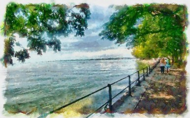Hand drawing watercolor art on canvas. Artistic big print. Original modern painting. Acrylic dry brush background. Beautiful view of the lake promenade. Freedom of thought and reason.