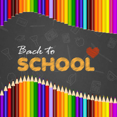 Back to school greeting card with hand written text. Vector.