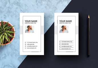 White Vertical Business Card Layout
