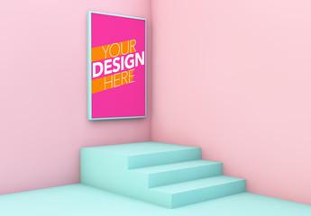 Pink and Blue Corner Poster Mockup