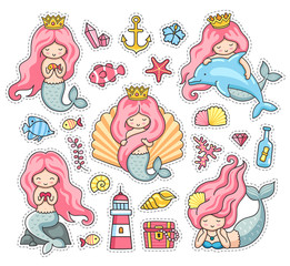 Little mermaids, dolphin, seashell, anchor, treasure chest and lighthouse. Under the sea. Set of cartoon stickers, patches, badges, pins and prints. Vector illustration