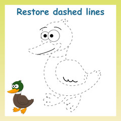 Trace game for children.Cartoon duck.