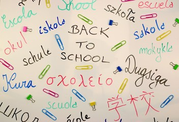 International back to school background on a white board with colorful paperclips.