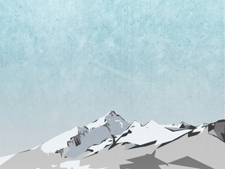 winter landscape illustration - mountain with snow and blue sky background
