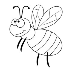 Colorless funny cartoon bee.