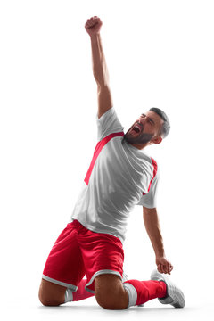One professional soccer player celebrate victory. Happy celebration. Isolated on white background