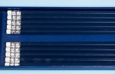Set of new pencils aligned in a box