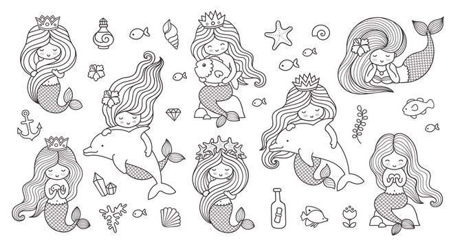 Big set of mermaids for coloring book. Collection of cute cartoon characters. Under the sea. Vector outline illustrations.