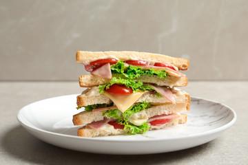 Tasty toast sandwich on plate. Wheat bread