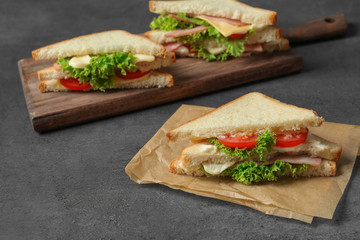 Tasty toast sandwich on table. Wheat bread